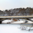 The bridge through the frozen river — Stock Photo