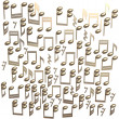 Stock Photo: Golden notes isolated on a white
