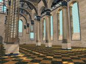 Nova visão em um interior medieval — Fotografia Stock