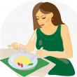 Woman eating in restaurant — Stock Vector