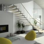3D render modern interior — Stock Photo