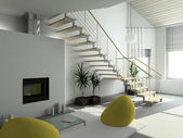 3D render modern interior — Stock Photo