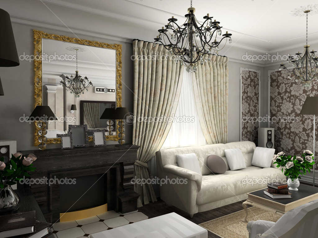Living-room with the classic furniture. 3D render. Living-room.  Stock Photo #2516573