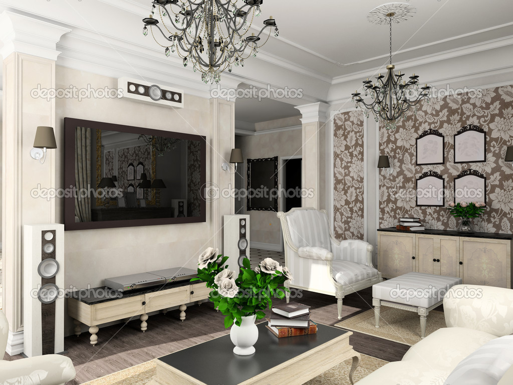 Living-room with the classic furniture. 3D render. Living-room. — Stock Photo #2516593