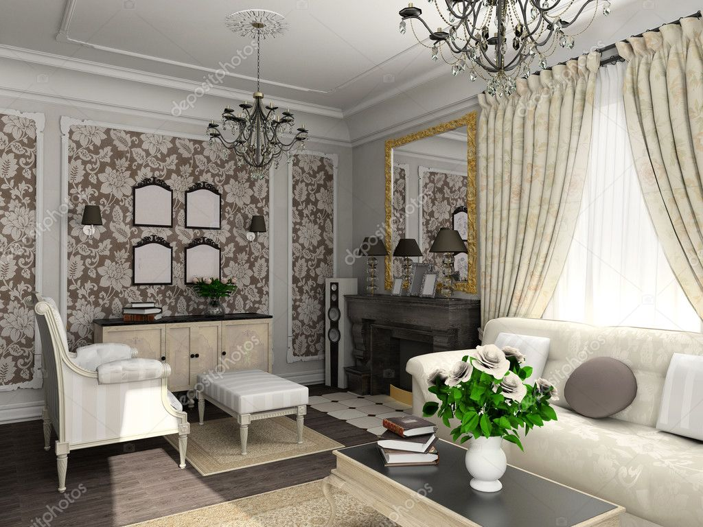 Living-room with the classic furniture. 3D render. Living-room. — Stock Photo #2516612