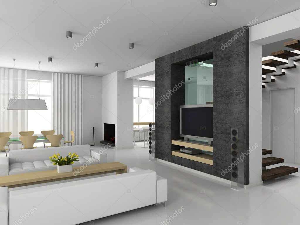 Modern interior. 3D render. Living-room — Foto de Stock   #2516728