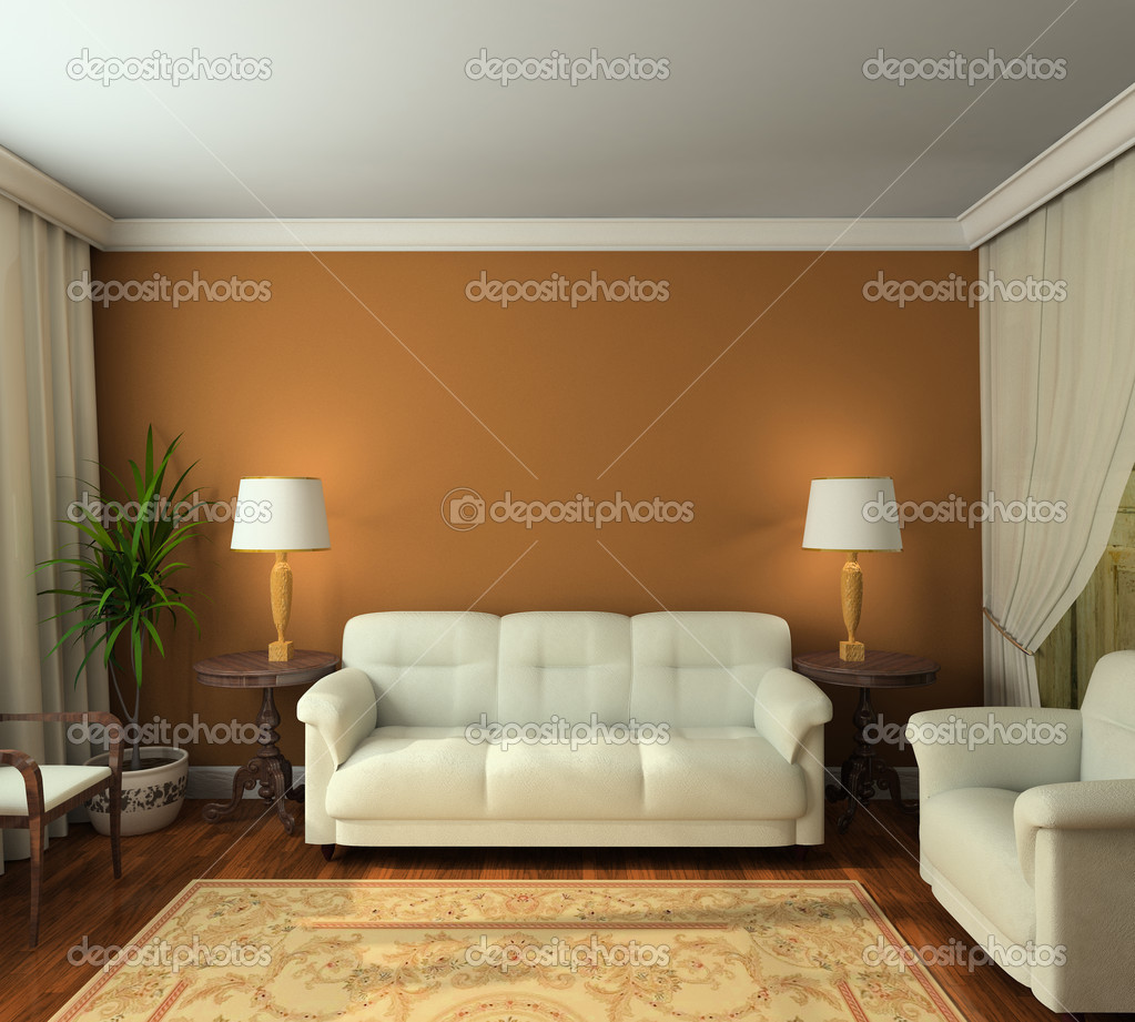 Classic design interior of living-room. 3D render — Zdjęcie stockowe #2516937