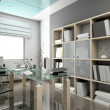 Foto Stock: 3D render modern office