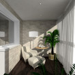 3D render interior of verandah - Stock Photo