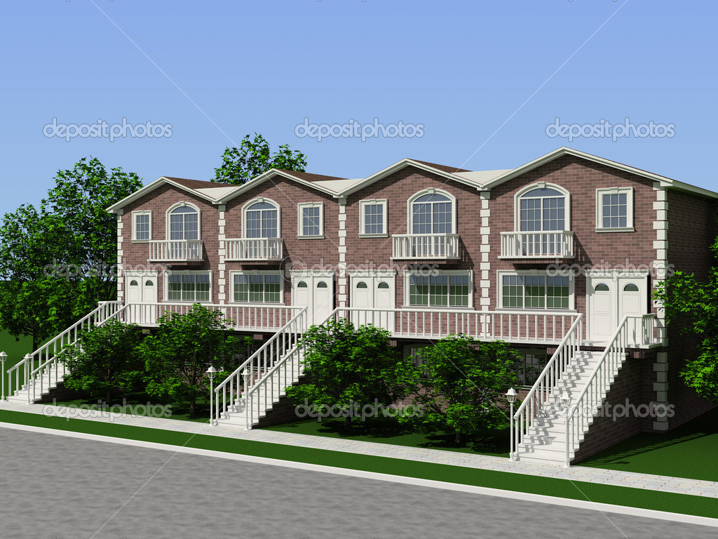 Big and beautiful house. 3D render — Stock Photo #2593301