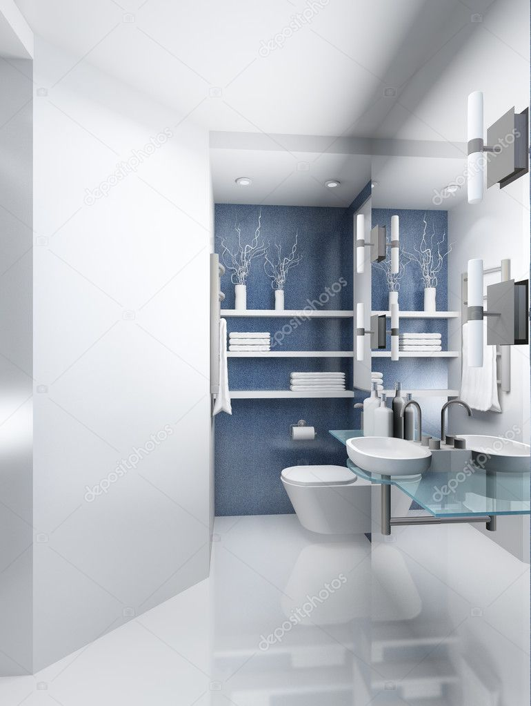 Modern design interior of toilet. 3D render — Stock Photo #2593734