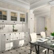 Foto Stock: Kitchen with classic furniture