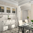 Kitchen with the classic furniture — Foto de Stock