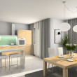 Stockfoto: Modern kitchen. 3D render