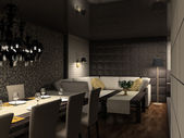 3D render modern interior of cafe — Stock Photo