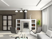 3D render interior of living-room — Stock Photo