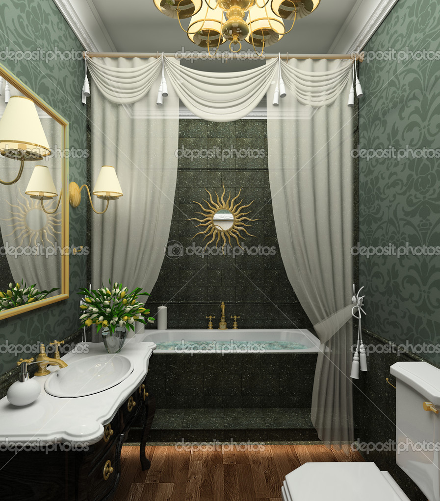 Classical design interior of bathroom. 3D render  Stock Photo #2604558