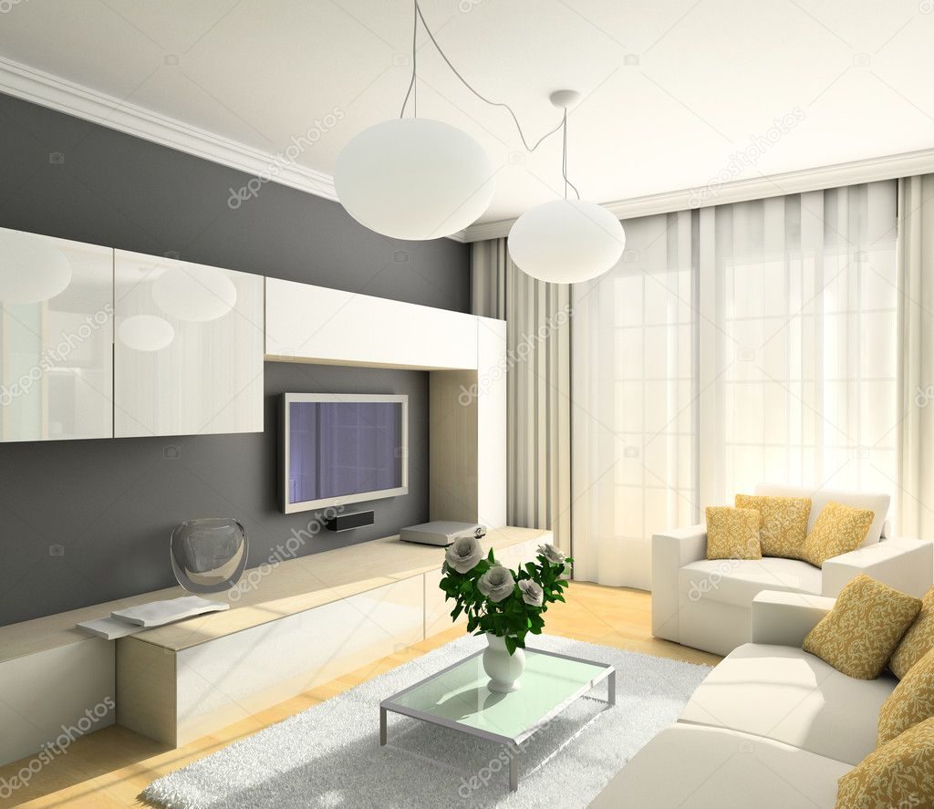 Modern design interior of living-room. 3D render  Stock Photo #2604805