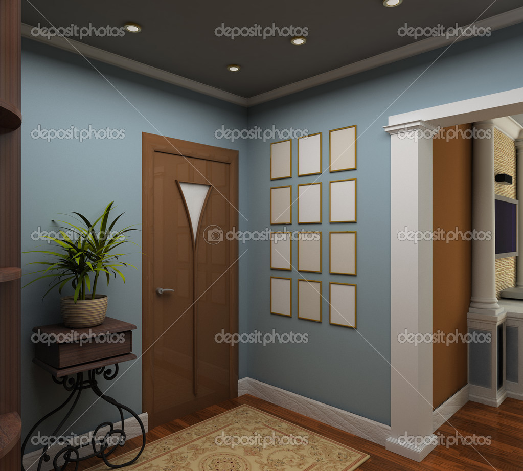 Classic design interior of vestibule. 3D render — Stock Photo #2604868