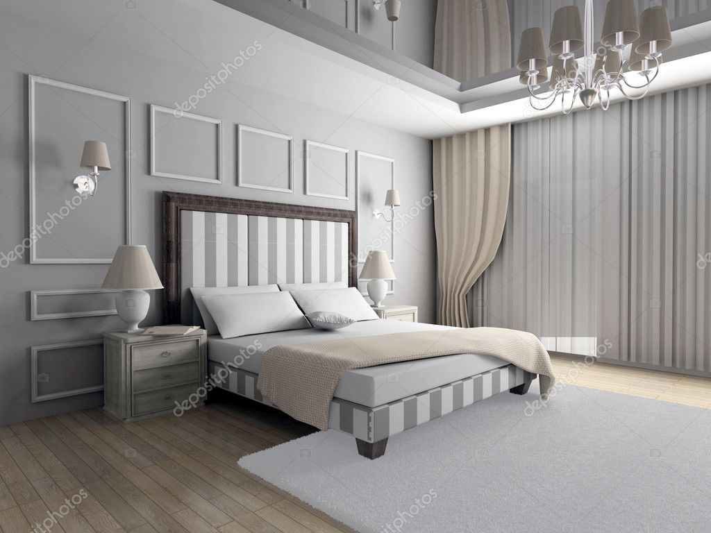 Classic design of interior. Bedroom. 3D render. — Stock Photo #2605120
