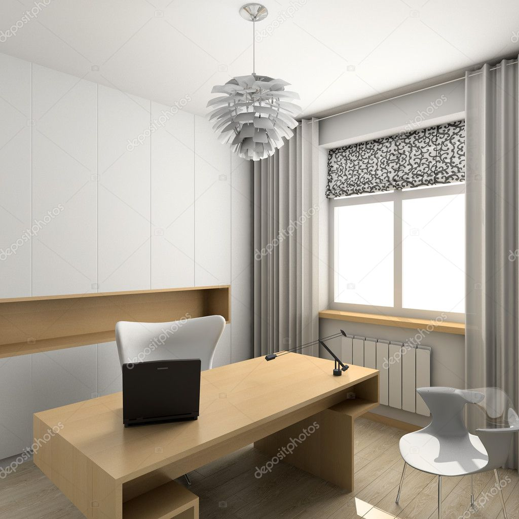 Modern design interior of cabinet. 3D render — Stock Photo #2605247