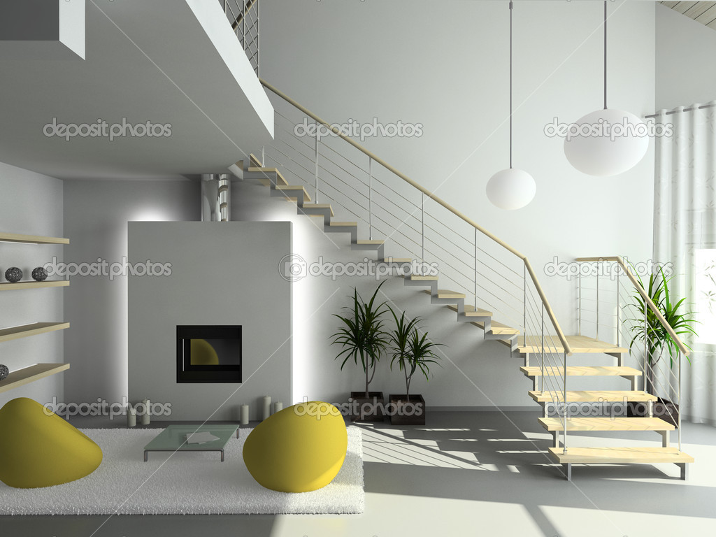 Modern design interior of living-room. 3D render — Stock Photo #2605331