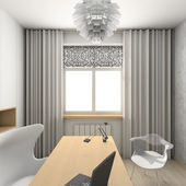 3D render modern interior of cabinet — Stock Photo