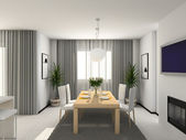 3D Interioir of modern kitchen — Stok fotoğraf