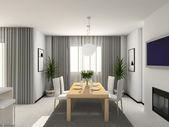 3d interioir moderní kuchyně — Stock fotografie