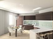 3D modern interior of kitchen — Stock Photo