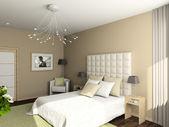 3d render interieur van slaapkamer — Stockfoto