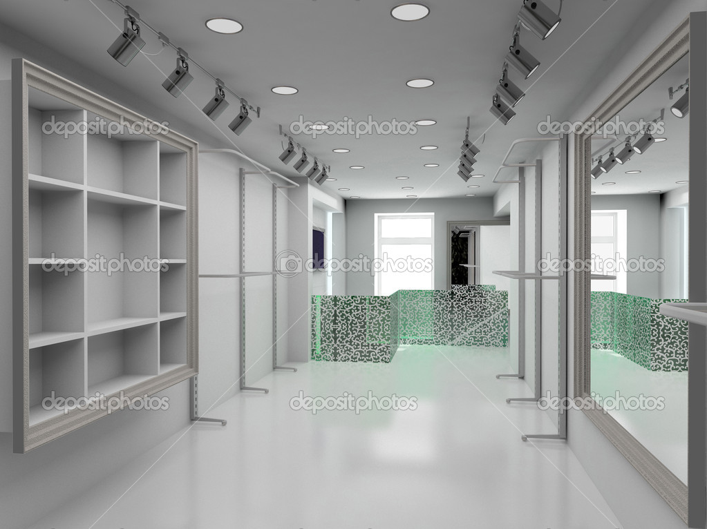 Modern design interior of shop. 3D render — Stock Photo #2619394