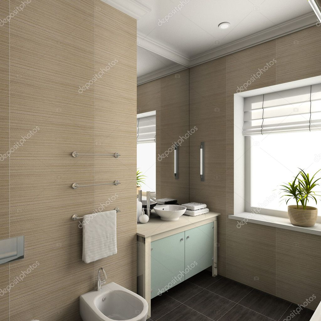 3d render modern interior of bathroom — Stock Photo © George Mayer