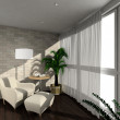 3D render modern interior of verandah - Stock Photo
