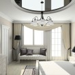 3D render classic interior of bedroom — Stock Photo