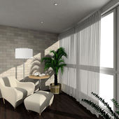 3D render modern interior of verandah — Stock Photo