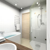 Modern bathroom. 3D render — Stock Photo