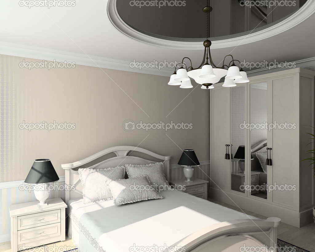 Classic design interior of bedroom. 3D render — Stock Photo #2620365