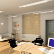 Stock Photo: 3D render modern interior of office