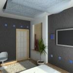 3D render modern interior of bedroom — Stock Photo