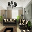 3D render classical interior - 图库照片