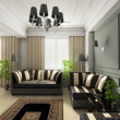 3D render classical interior - Stock Photo