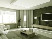 Modern salon 3d interioir — Stok fotoğraf