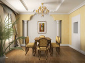 3D render classical interior of dining — Stock Photo