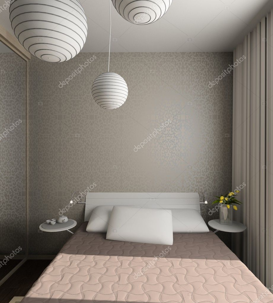 Iinterior of modern bedroom. 3D render — Stock Photo #2646729