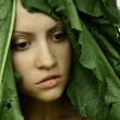 Beautiful girl with big leaves on head — Stockfoto