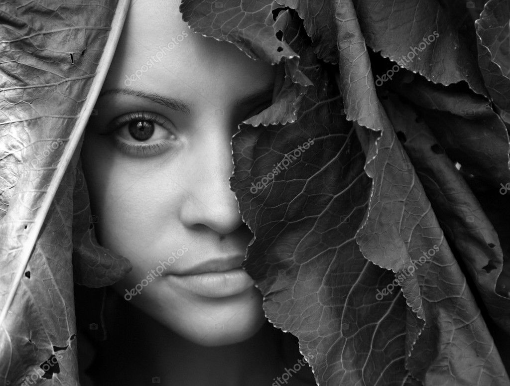 Portrait of young beautiful girl with big leaves on head  Stock Photo #2669443