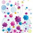 Colorful  floral doodle — Stockfoto