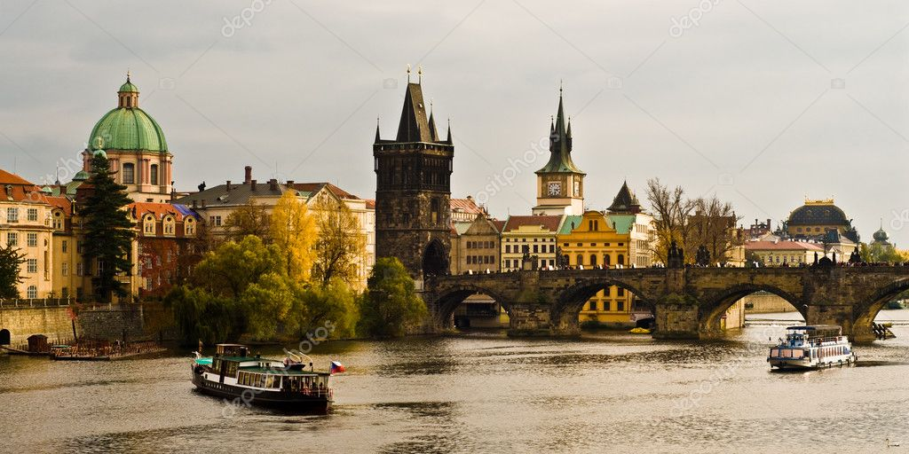 River Vltava and Charles Bride in Prague  Stock Photo #2310757