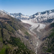 Tail of aletsch glacier — Stock Photo